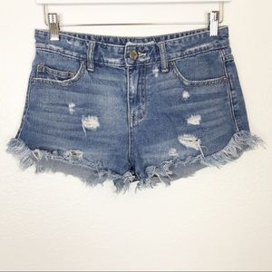 FREE PEOPLE distressed cut-off jean shorts | 26